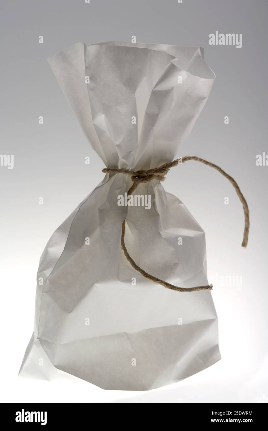 Close-up of a tied paper bag against gray background - Stock Image