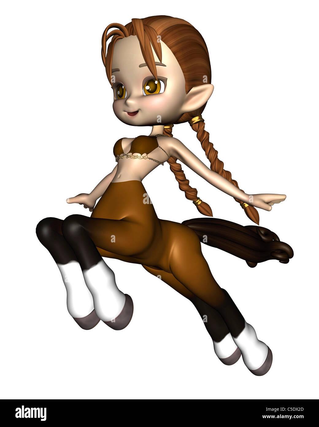 Cute Toon Female Centaur - Brown - Stock Image