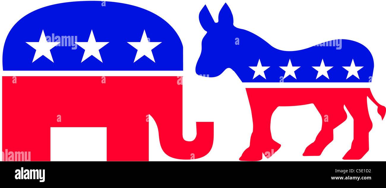 US Democratic and Republican political parties logos - Stock Image