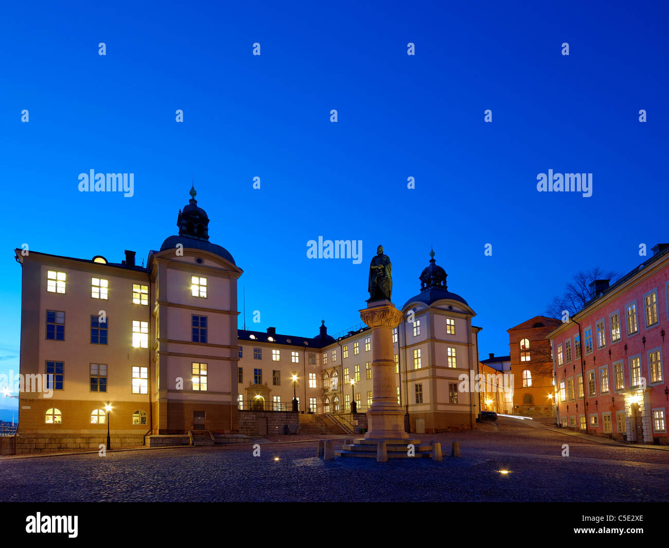 Svea Court of Appeal against clear blue sky at night in Stockholm, Sweden - Stock Image