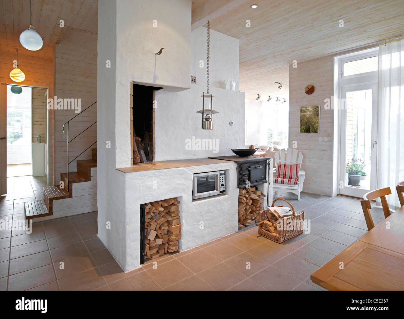 View of the spacious kitchen interior at home - Stock Image