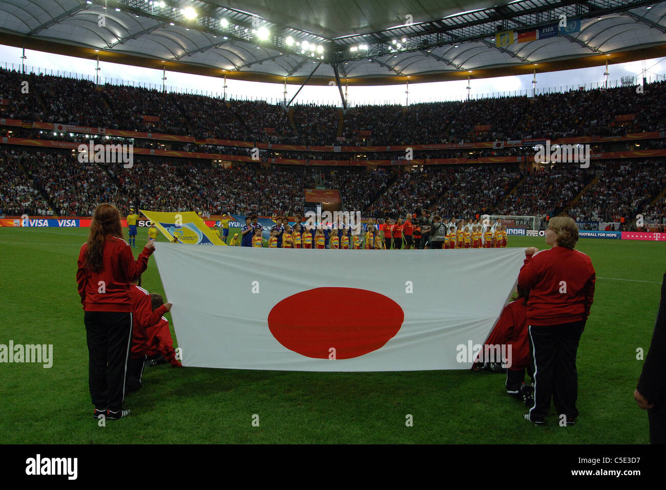 Two team groups : FIFA Women's World Cup Germany 2011 Final match between Japan 2(3 PK 1)2 United States. - Stock Image