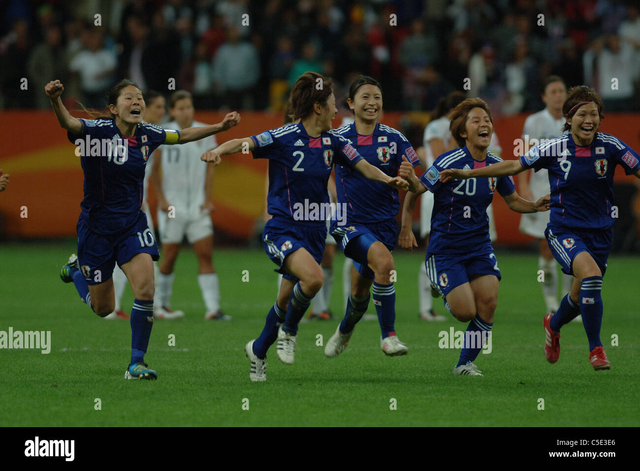 Japan team celebrates after winning the FIFA Women's World Cup Germany 2011 Final match between Japan 2(3 PK - Stock Image