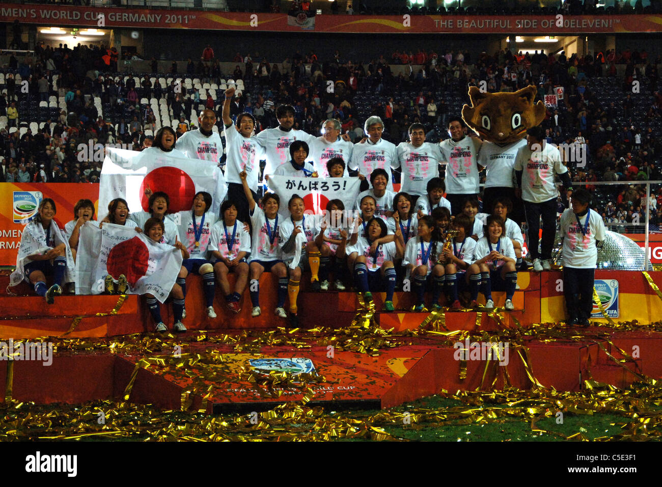 Japan team celebrates with the trophy after winning the FIFA Women's World Cup  2011 Final match, Japan 2(3 - Stock Image