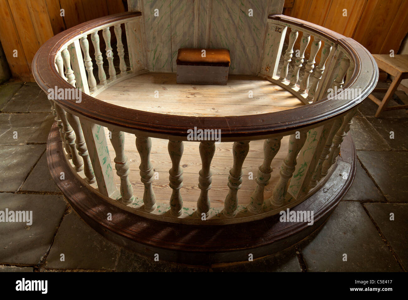 Close-up of a circular altar with rails at the old church - Stock Image