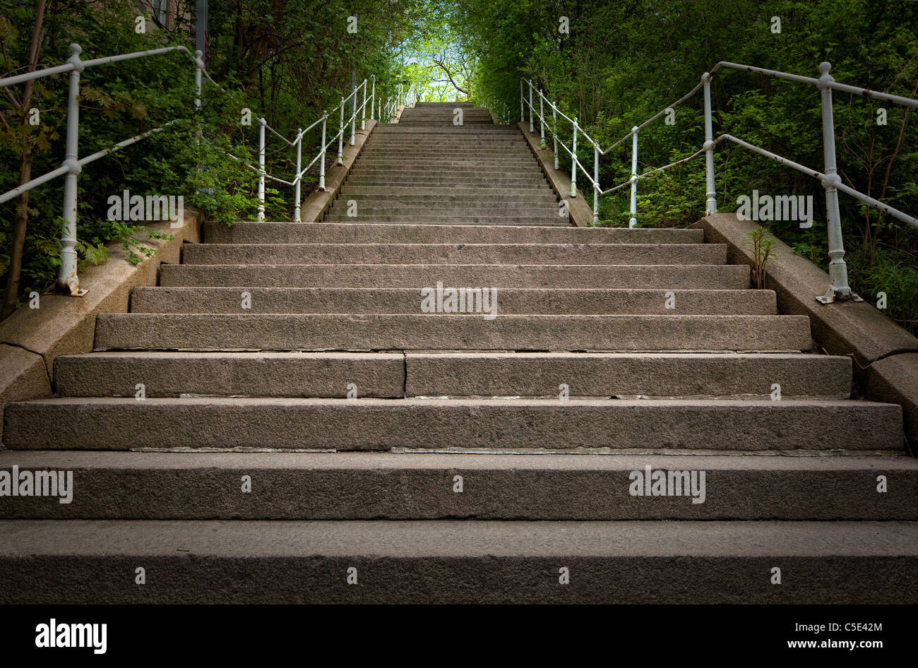 Close-up of outdoor long stone stairways along trees - Stock Image