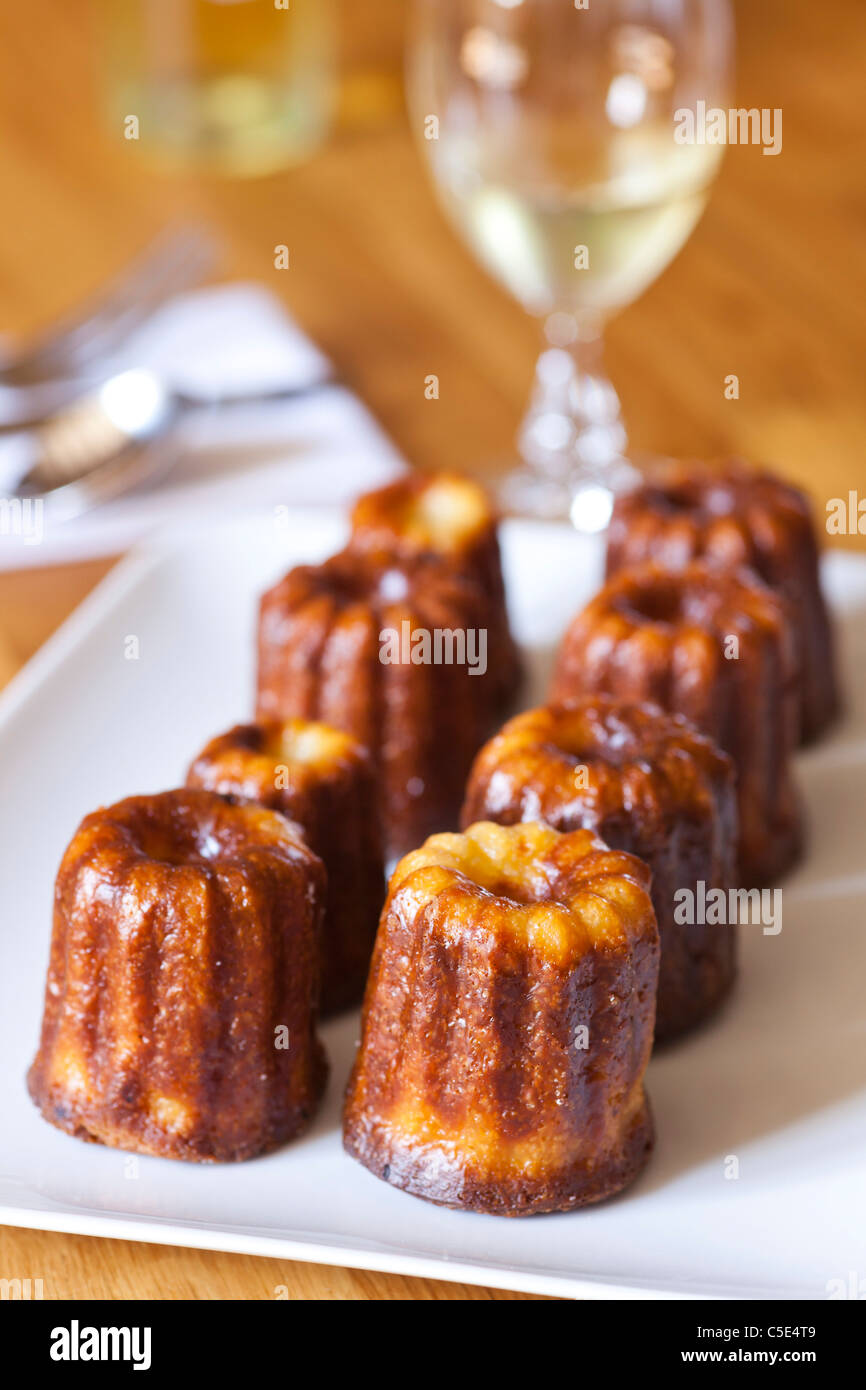 canelé de Bordeaux, rich and creamy cake from Bordeaux, France - Stock Image
