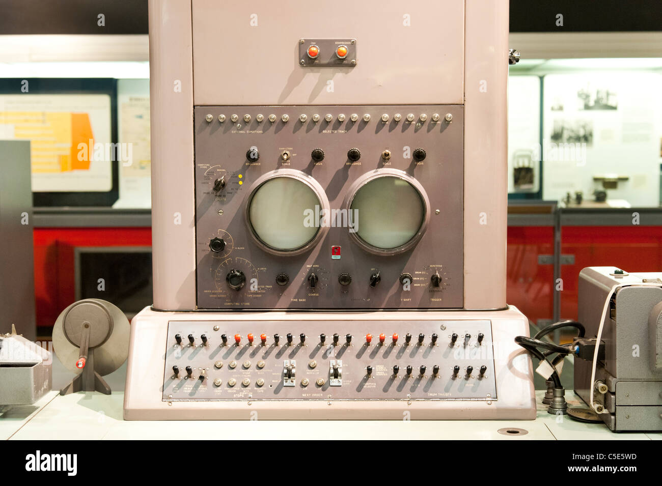 Controls of a 1959 Ferranti Pegasus computer in the Science Museum, London, UK - Stock Image