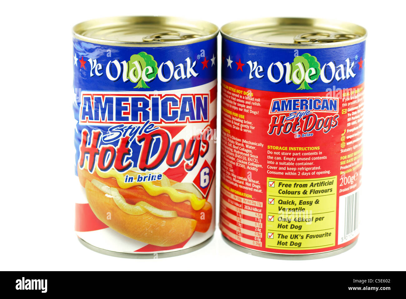 Two tins of Ye Olde Oak American style Hot dogs sausages in brine. - Stock Image