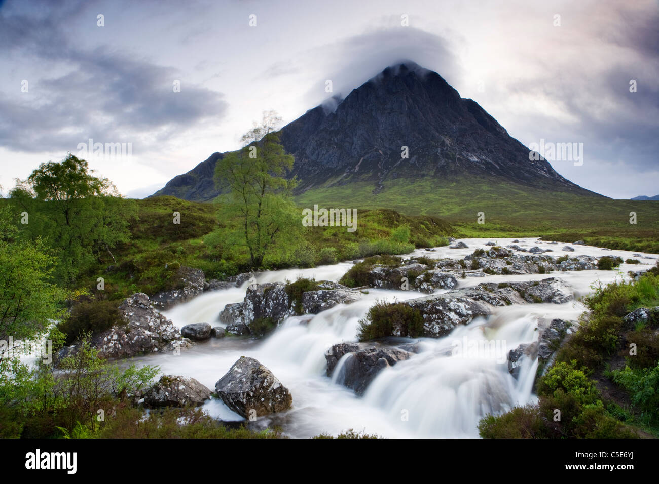 Buachaille Etive Mor and River Coupall, Highland, Scotland, UK. - Stock Image