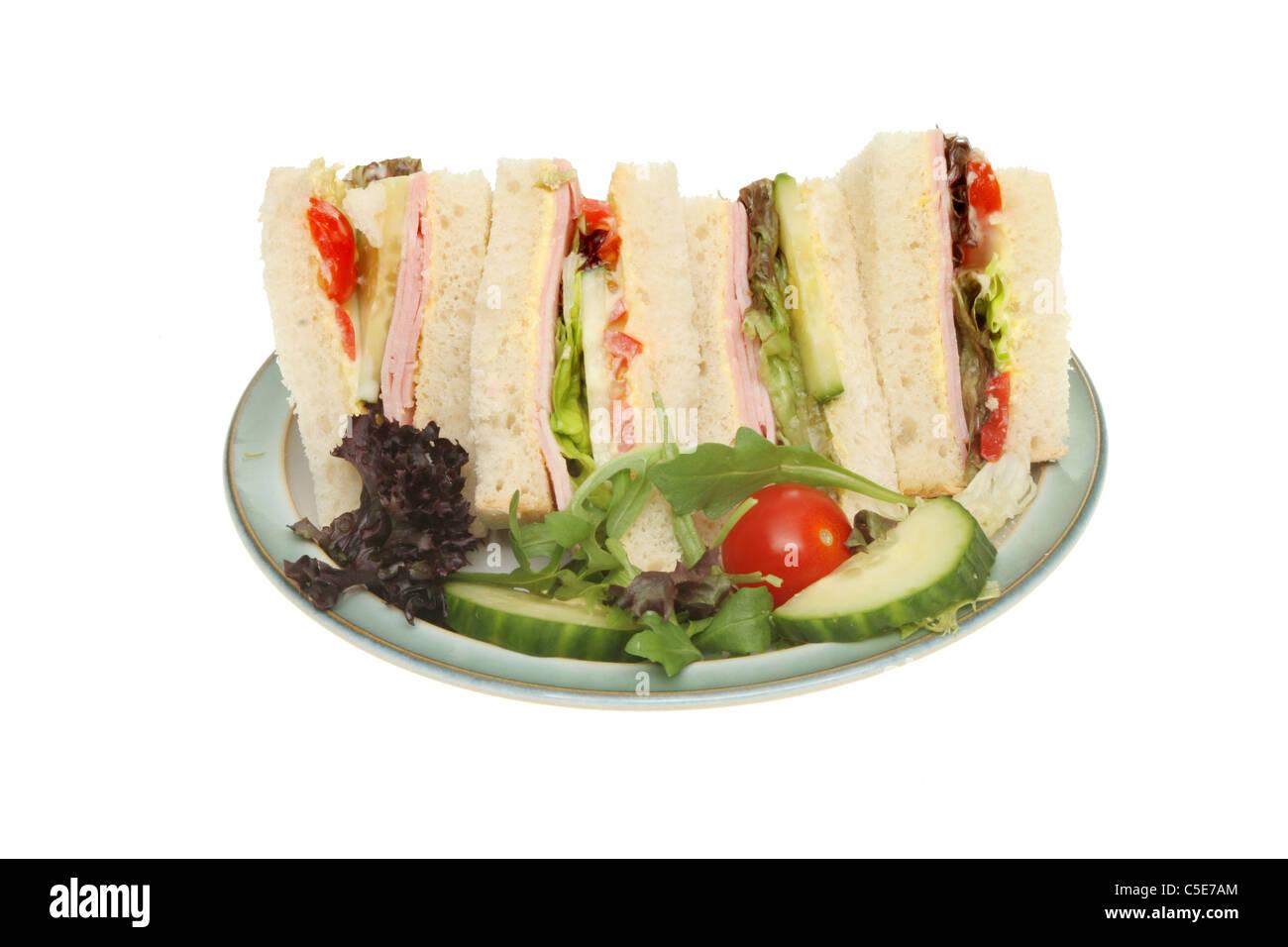 Ham Salad Sandwich With A Salad Garnish On A Plate Stock