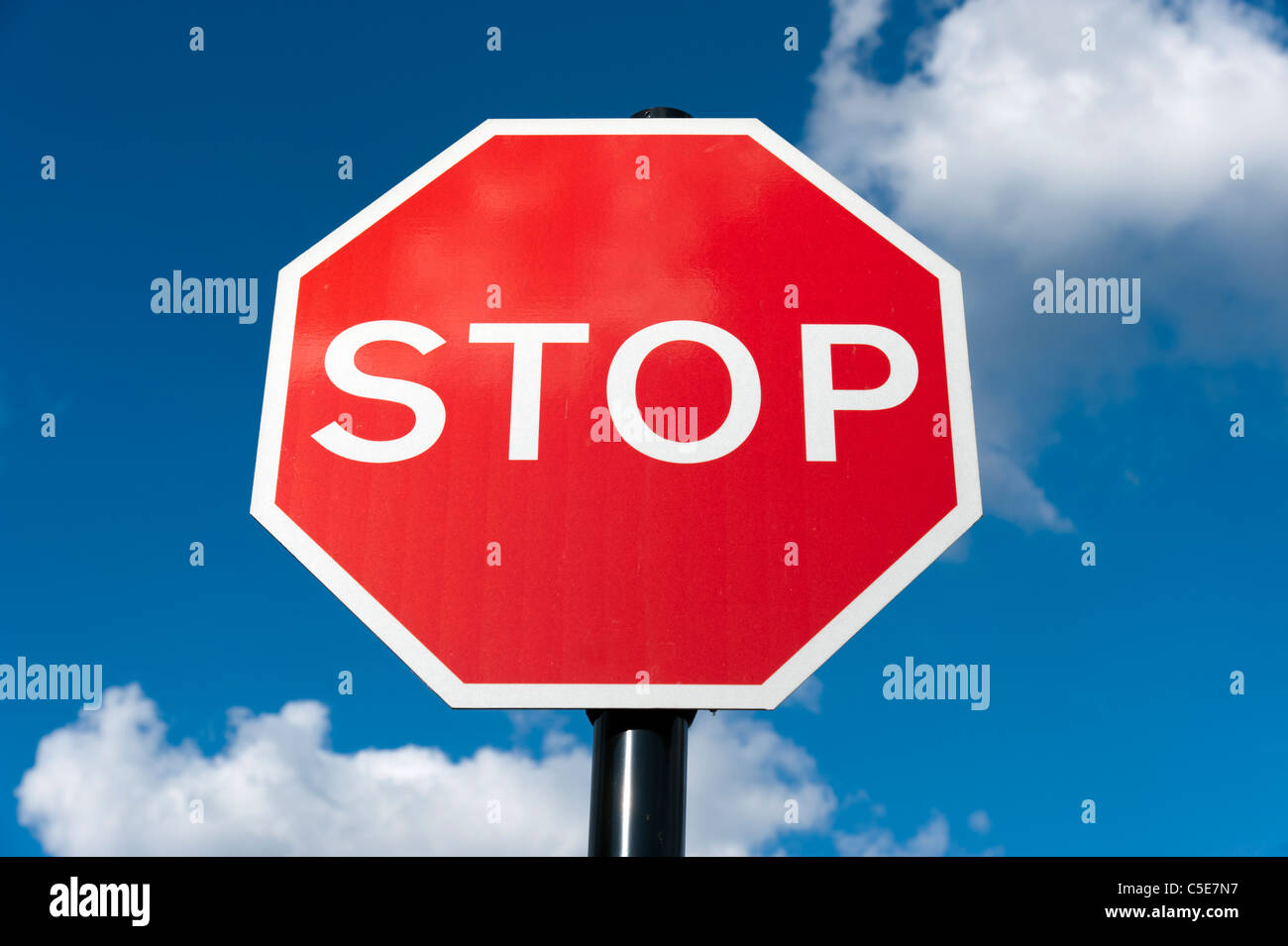 Red stop sign, UK - Stock Image