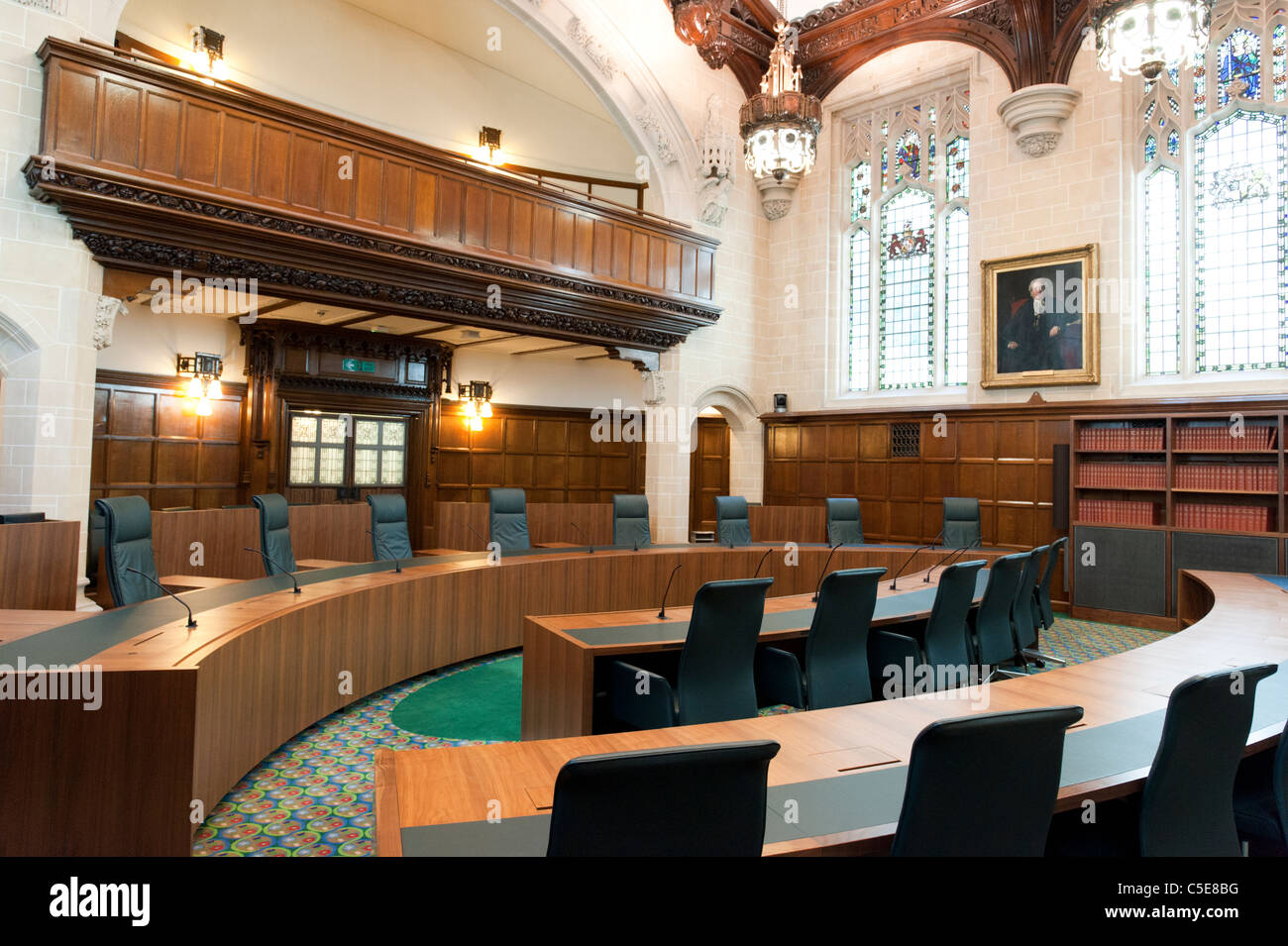 Courtroom 1 of The Supreme Court of the United Kingdom, London, UK - Stock Image