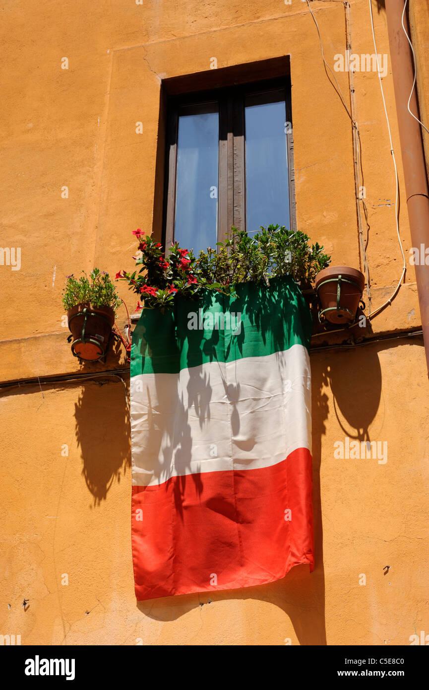 italy, rome, window, italian flag - Stock Image