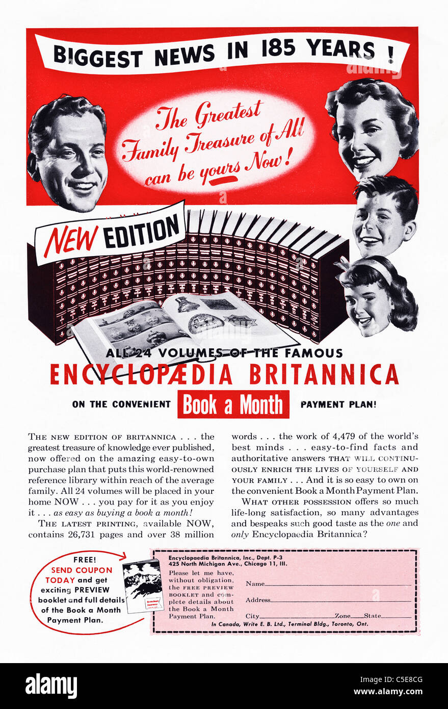Original 1950s advert in American magazine advertising ENCYCLOPAEDIA BRITANNICA - Stock Image