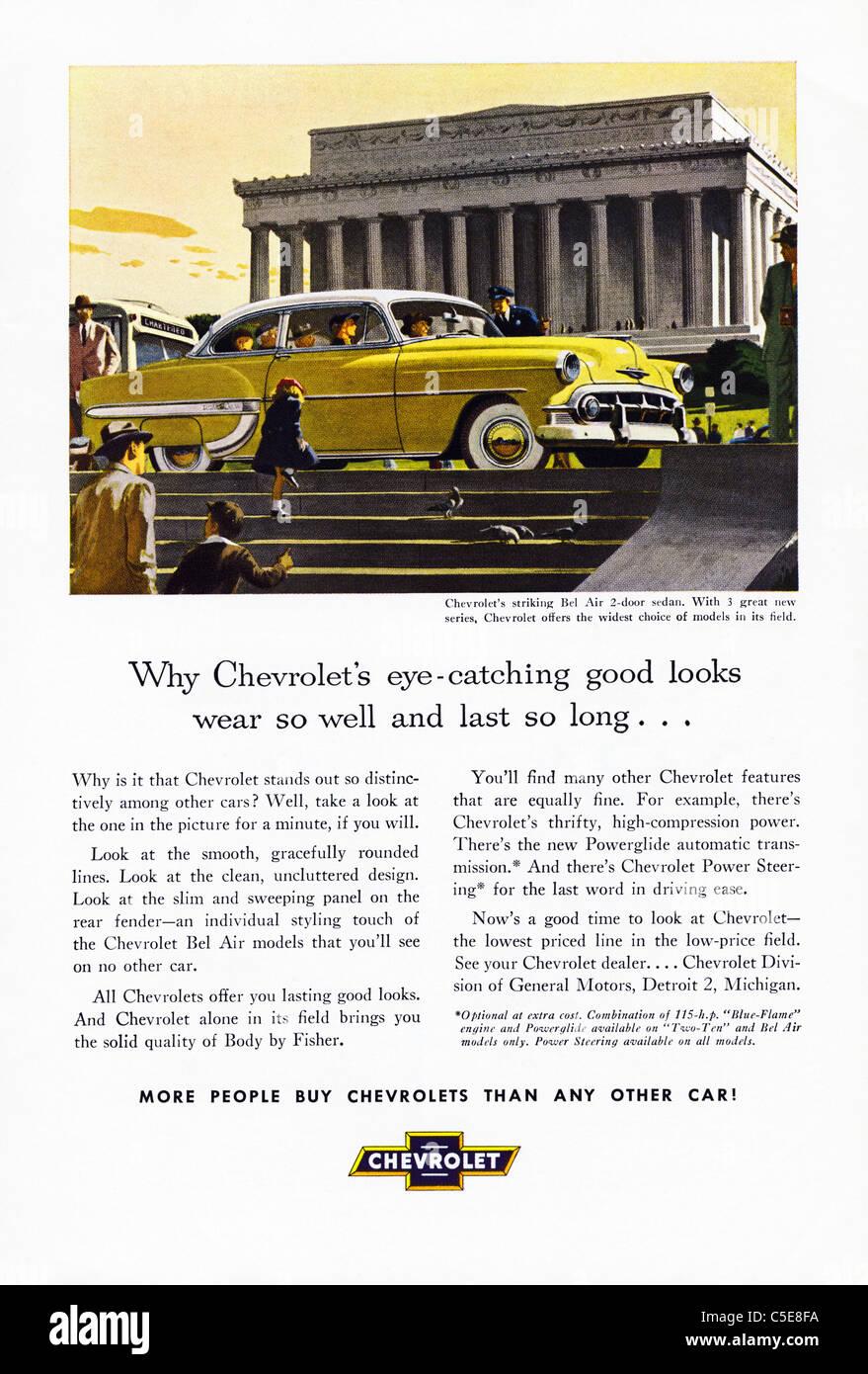 Original 1950s advert in American magazine advertising CHEVROLET cars - Stock Image