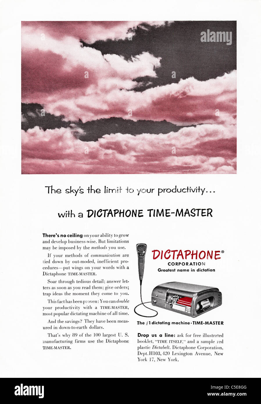 Original 1950s advert in American magazine advertising DICTAPHONE recording machine - Stock Image