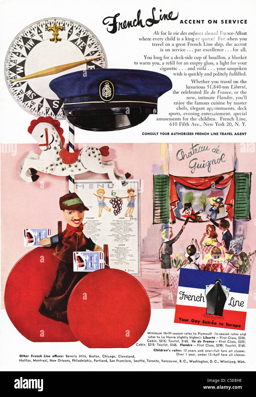 Original 1950s advert in American magazine advertising FRENCH LINE ships - Stock Image