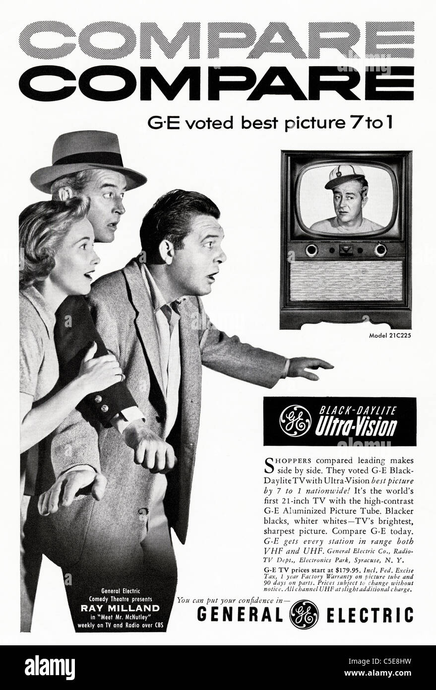 Original 1950s advert in American magazine advertising GENERAL ELECTRIC black & white television featuring celebrity Stock Photo