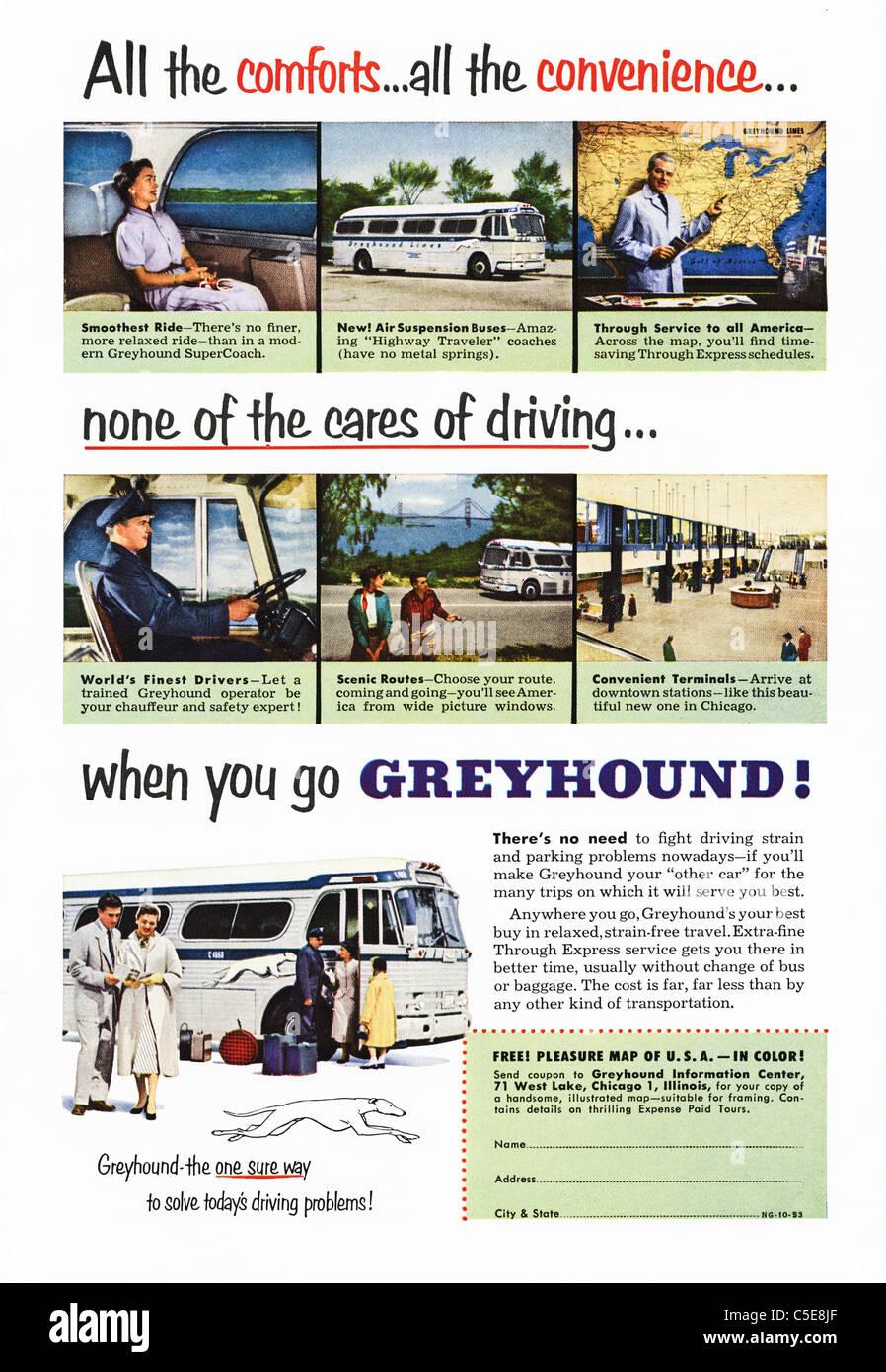 Original 1950s advert in American magazine advertising GREYHOUND coaches - Stock Image
