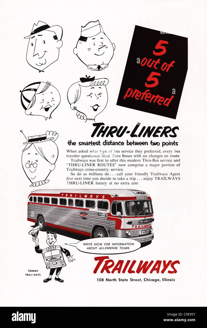 Original 1950s advert in American magazine advertising TRAILWAYS bus service - Stock Image
