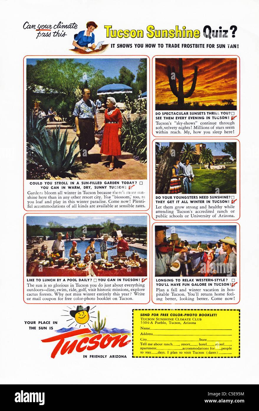 Original 1950s advert in American magazine advertising tourism in TUCSON ARIZONA - Stock Image