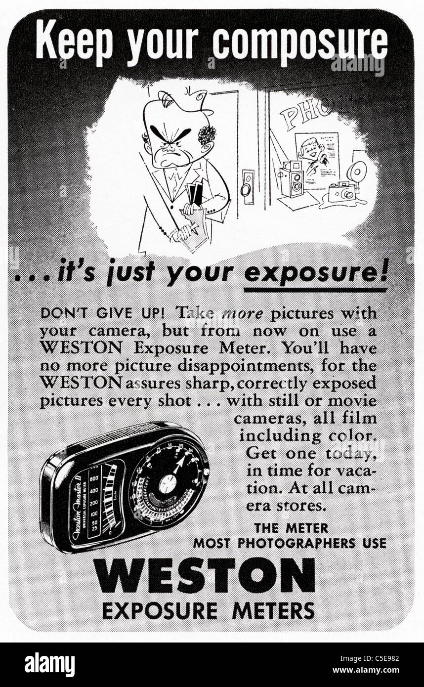 Original 1950s advert in American magazine advertising WESTON EXPOSURE METERS - Stock Image