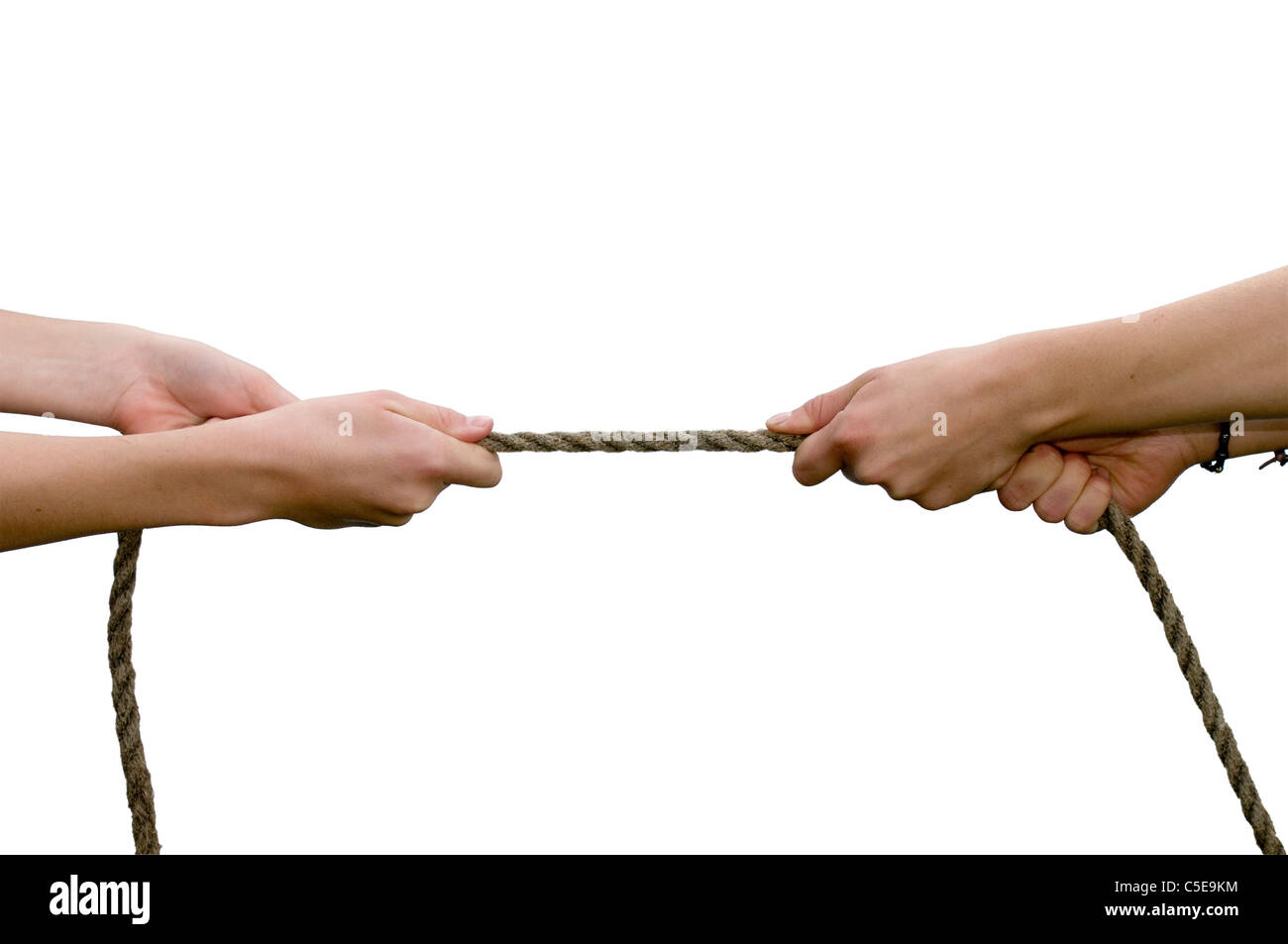 Close-up of hands playing the tug of war against white background Stock Photo