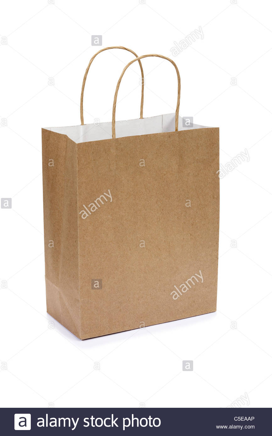Brown paper gift or shopping bag - Stock Image