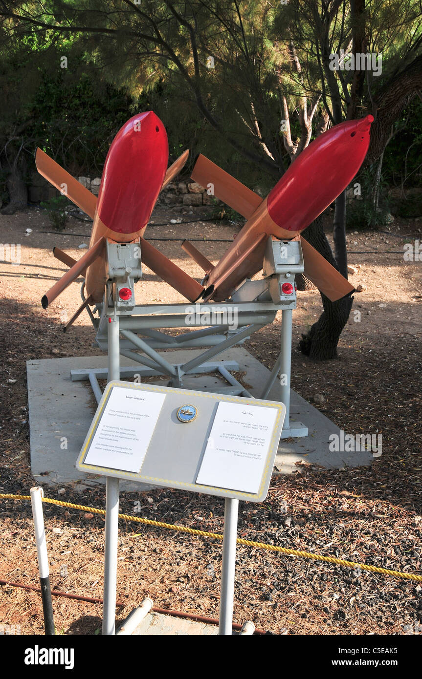 Israel, Haifa, The Clandestine Immigration and Navy Museum IAI Looz Anti-ship missile on display - Stock Image