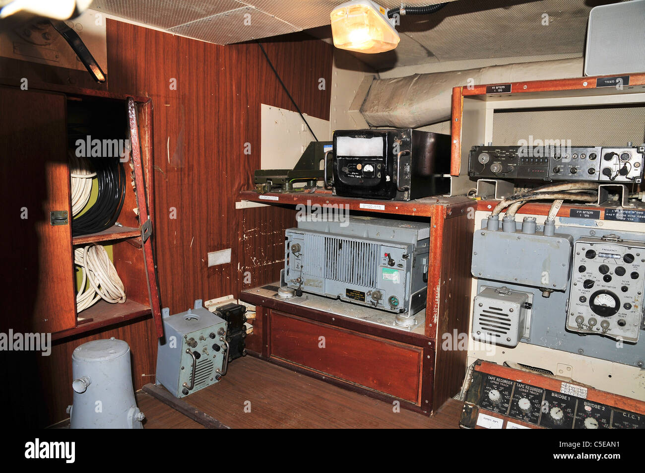 Interior of the Israeli Navy Missile boat INS Mivtach Communication room - Stock Image