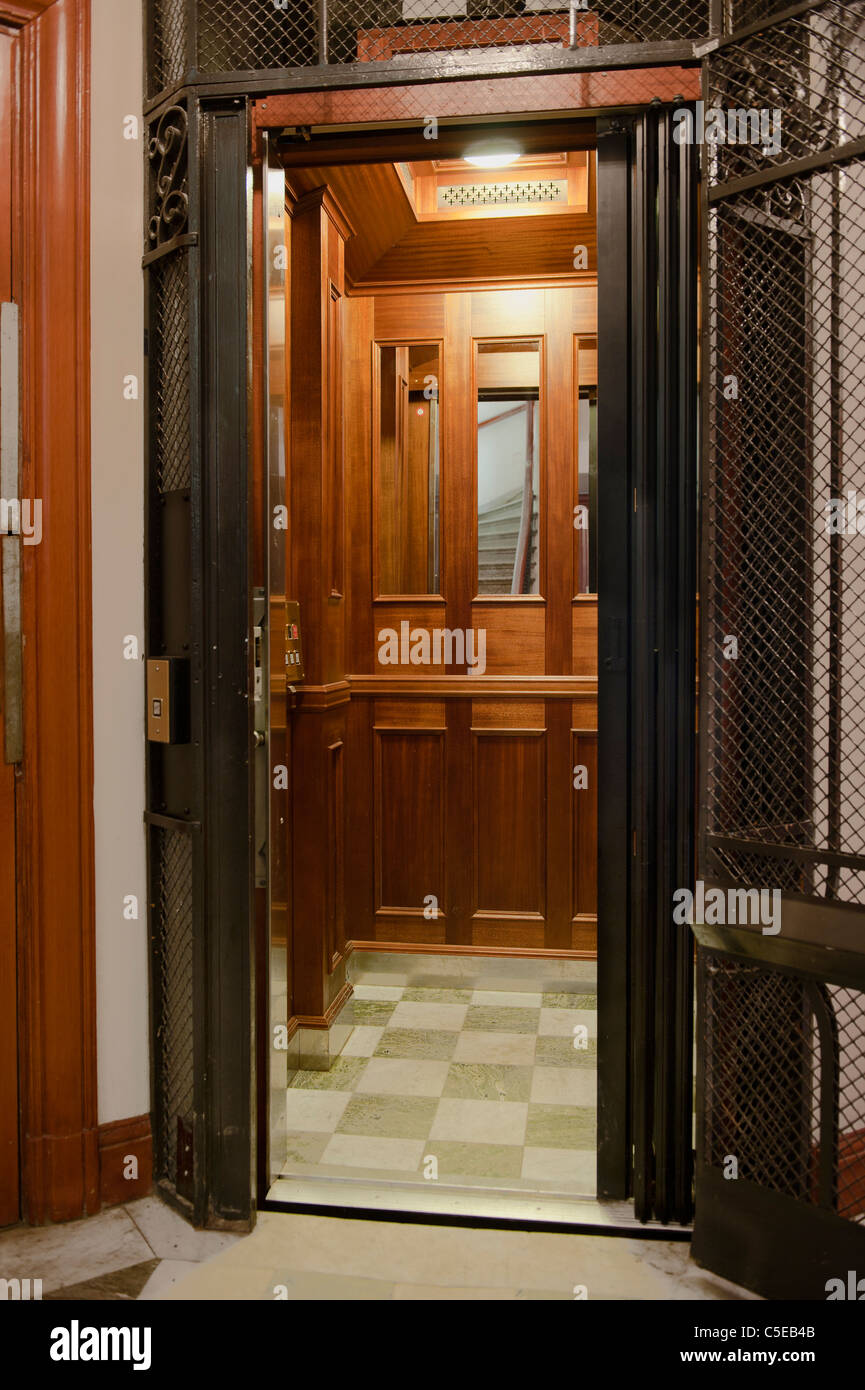 View of an open old building elevator - Stock Image