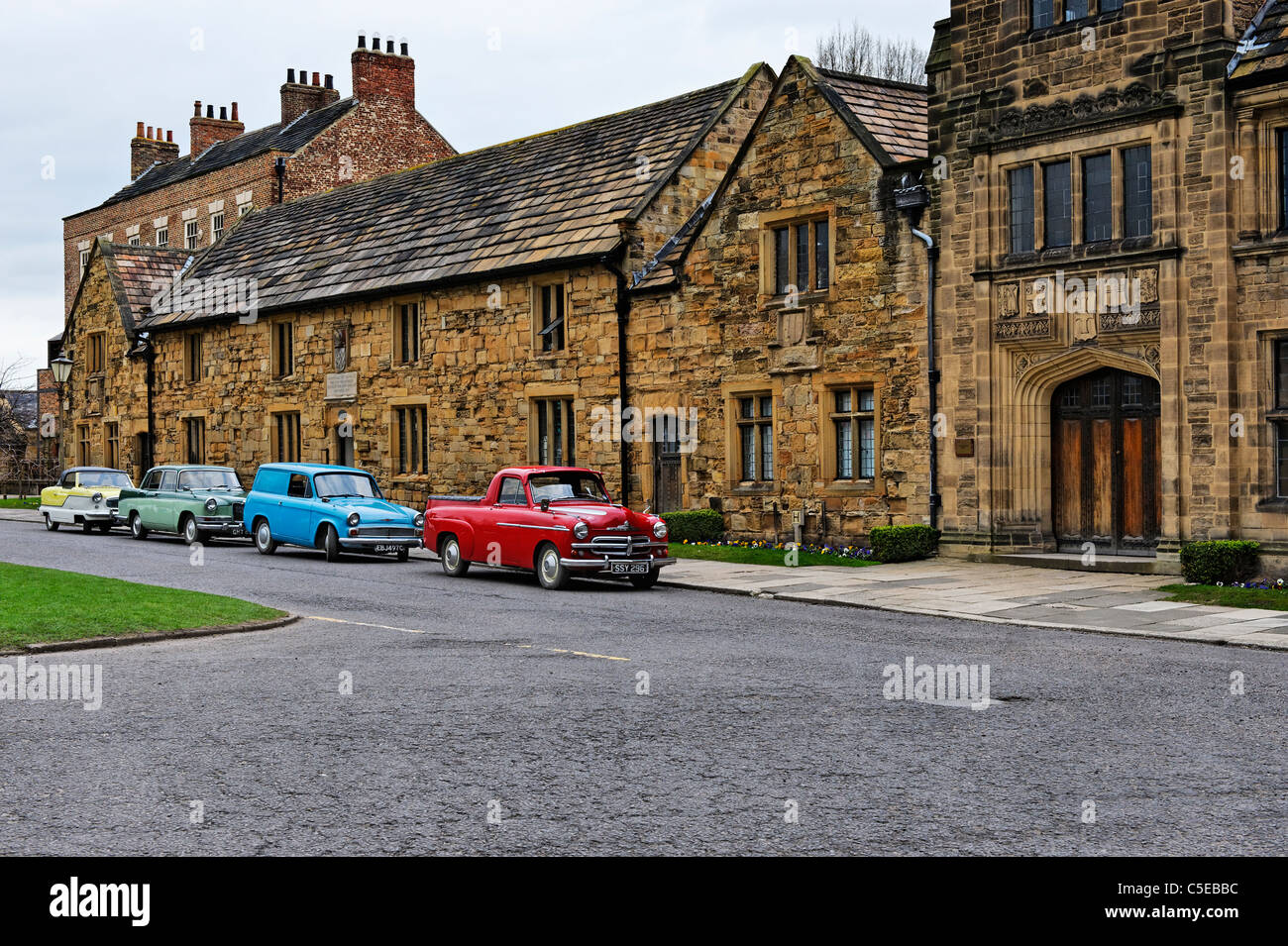 Classic cars parked in Palace Green Durham - Stock Image