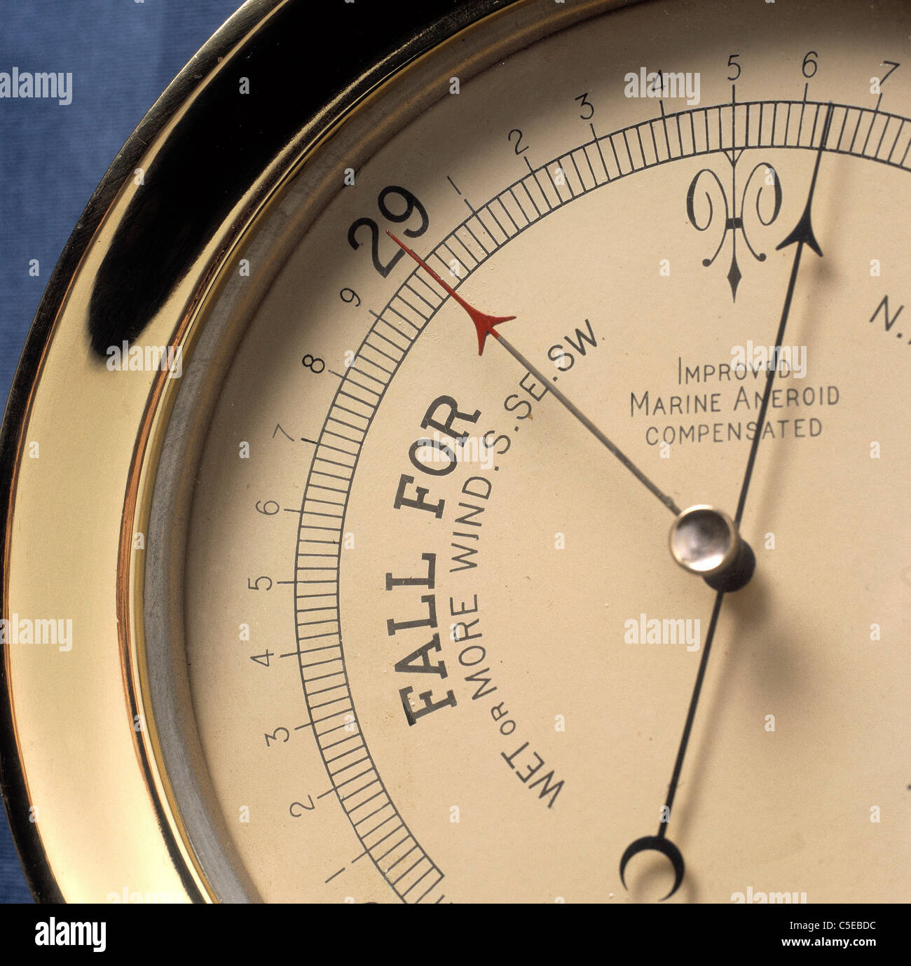 Extreme close-up of a cropped barometer - Stock Image