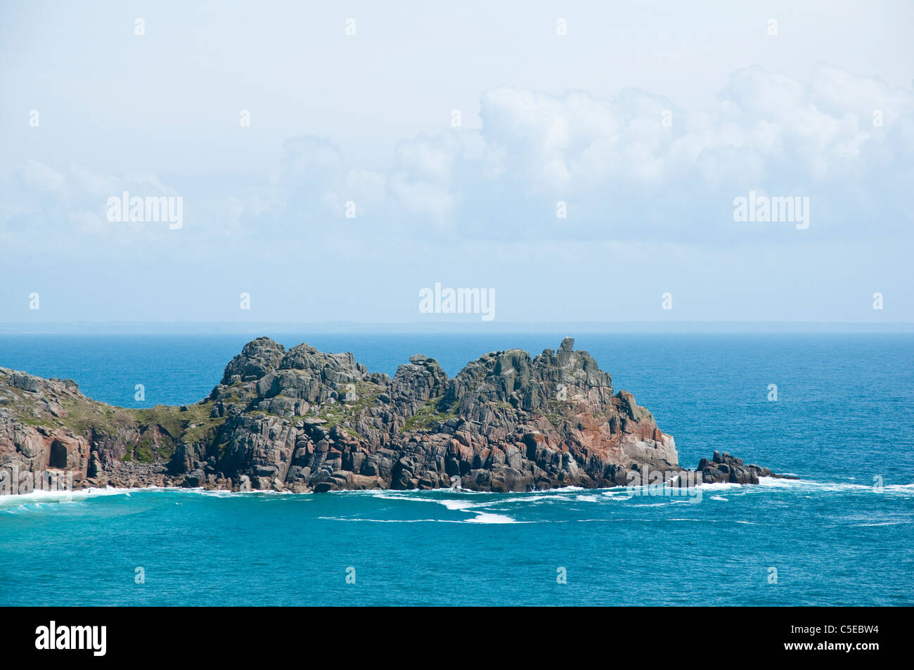 Logan Rock, Porthcurno, Cornwall - viewed from the SWC  path ( SW  Coast / Coastal footpath ). UK. - Stock Image