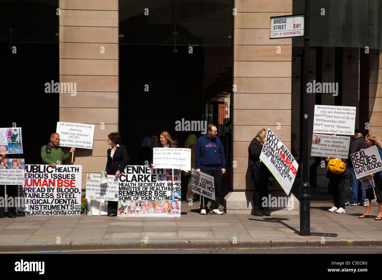 England, London, Westminster, Protesters campaigning outside the houses of Parliament. Stock Photo