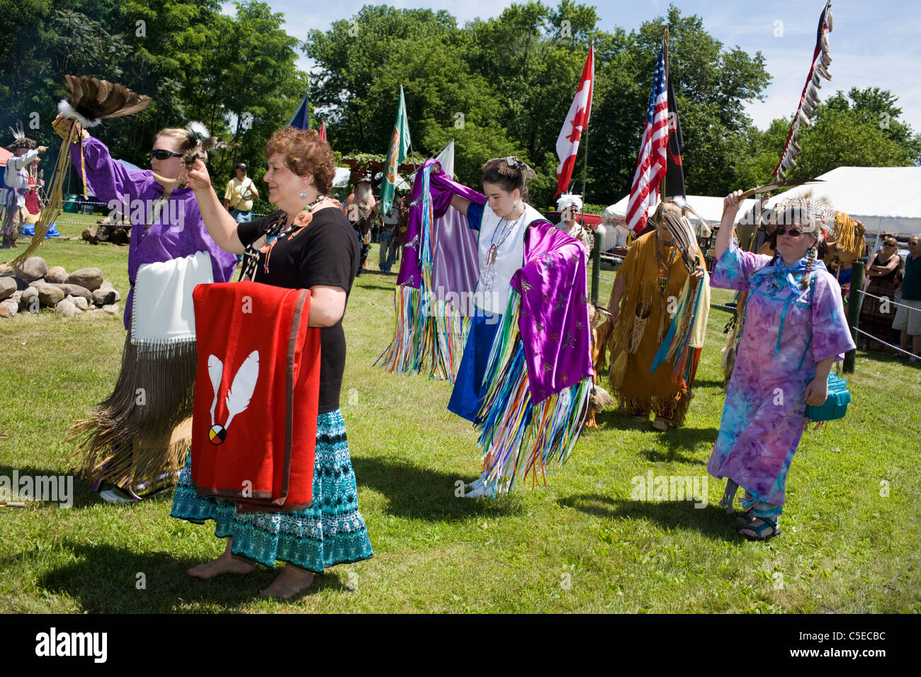 Grand Entrance of Native Americans in regalia, Iroquois Powwow, Rotterdam Junction, Mohawk Valley, New York State - Stock Image