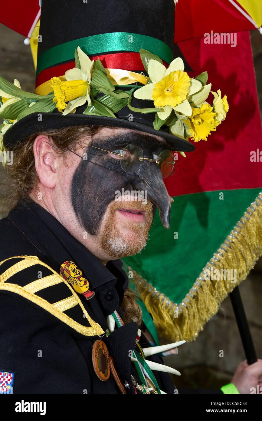 Powderkegs Morris Dancers & Street Entertainers, Detail and People, Performing at Tutbury Castle Weekend of - Stock Image