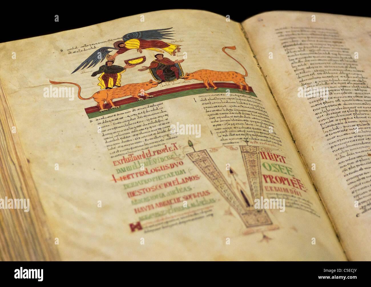Open Bible of XI century (shallow DOF) - Stock Image