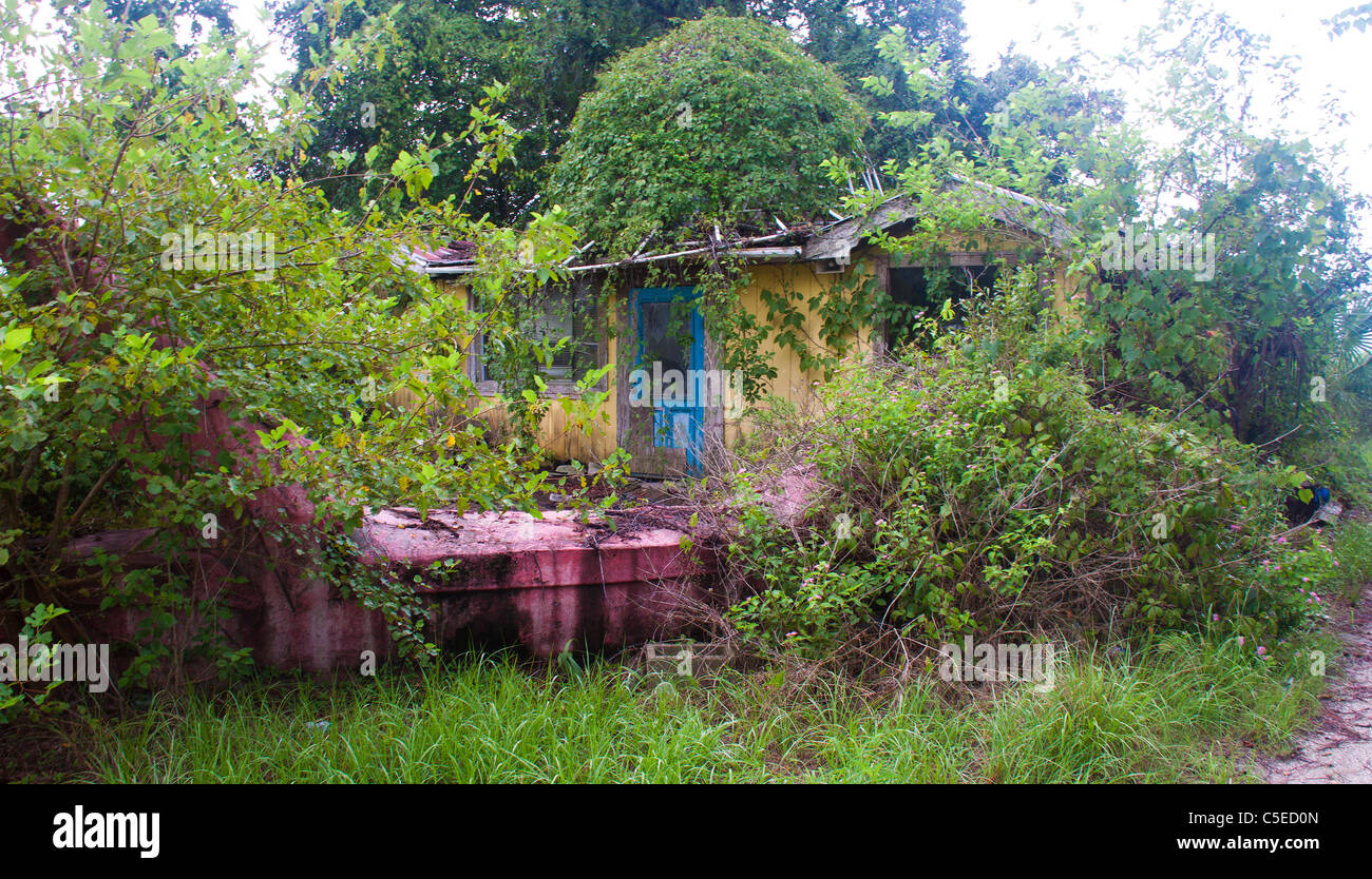 Abandoned, run-down house near Apalachicola, Florida, USA - Stock Image