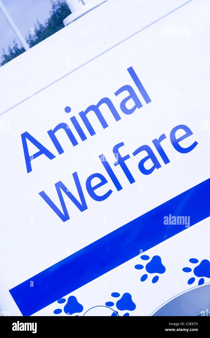 Writing on the side of an animal welfare vehicle, - Stock Image
