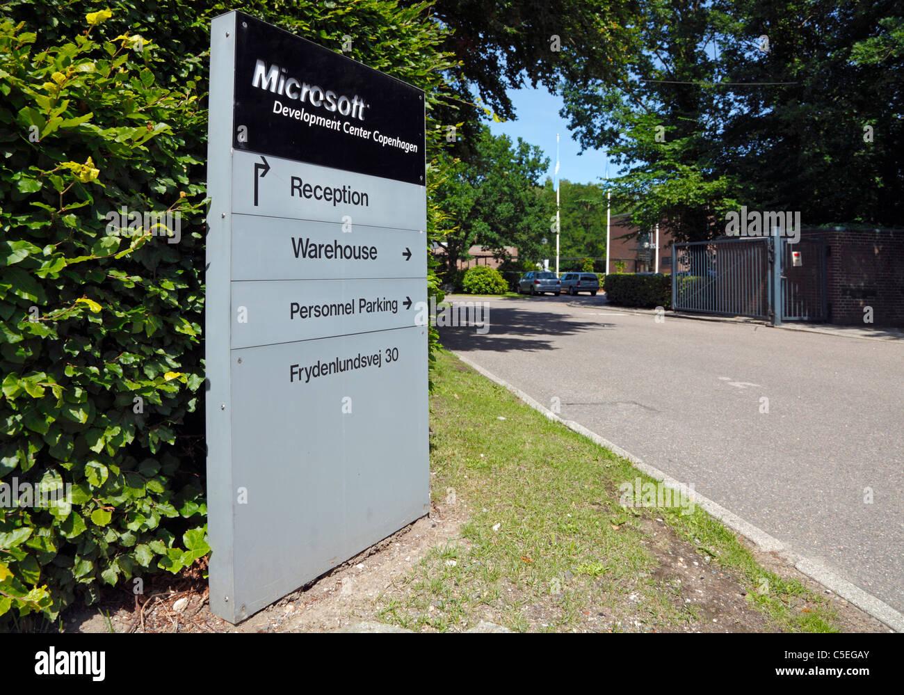 Entrance to the Microsoft Development Center Copenhagen - in Trørød, Denmark - Stock Image