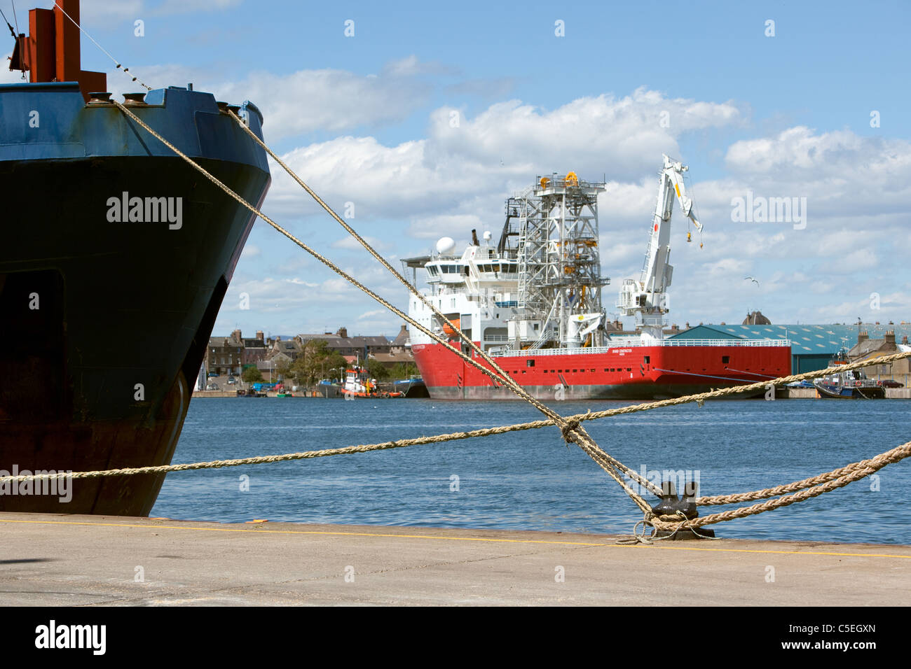 Ropes securing ships to quayside at Montrose Harbour Scotland Stock Photo