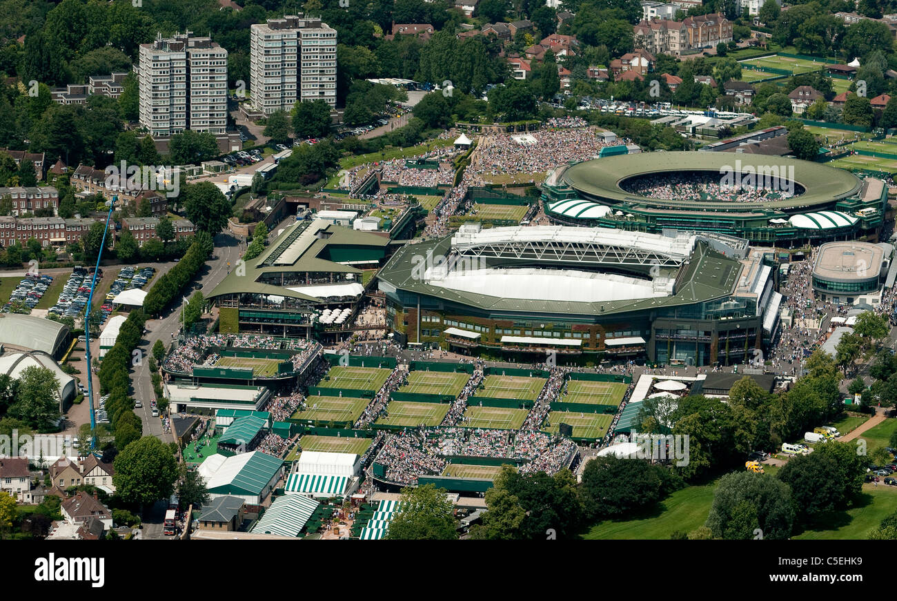 Aerial view of the All England Lawn Tennis Club during play at the 2011 Wimbledon Tennis Championships Stock Photo