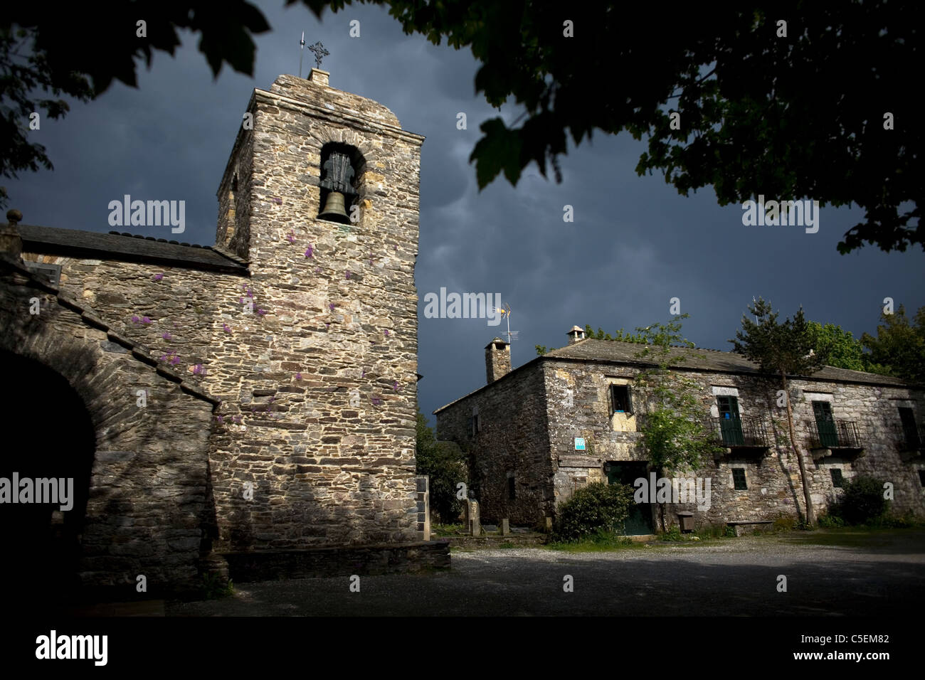 Santa Maria la Real church in O Cebreiro, a small village located in the French Way of St. James Way, Galicia, Spain - Stock Image