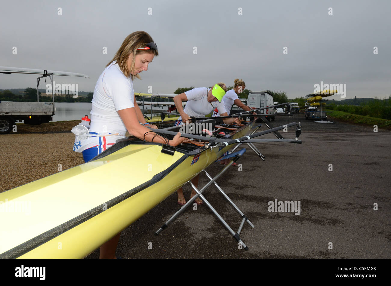 GBR rowing team  at  Redgrave Pinsent Rowing Lake and Sherriff Boathouse - Stock Image