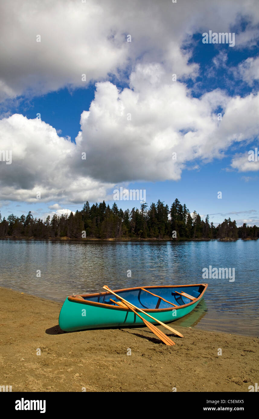 A canoe and paddles on the shore of a mountain lake, Vancouver Island, British Columbia, Canada. - Stock Image