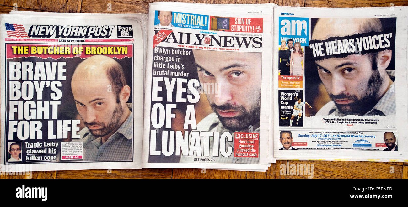 Several New York newspapers use the same Associated Press photograph on Levi Aron on the front page - Stock Image