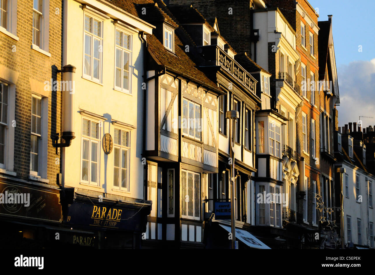Historic buildings on Kings Parade Cambridge at sunset - Stock Image