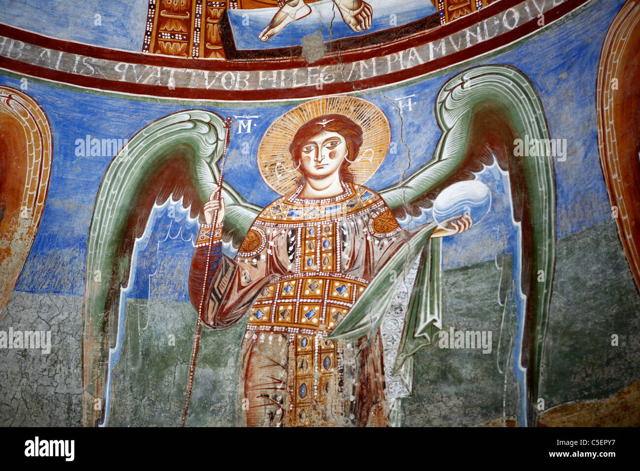 Mural painting in basilica Sant'Angelo in Formis (9th century), Campania, Italy Stock Photo